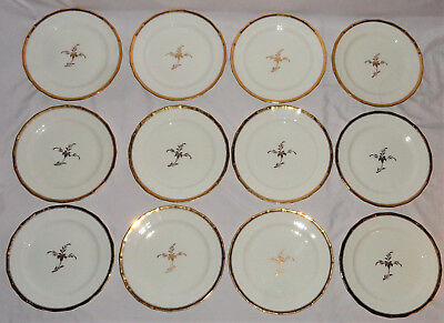 "12 Cauldon Ltd China 1904-1920 Tea Leaf ~10"" Gold Rim Dinner Plates Selzer N7339"