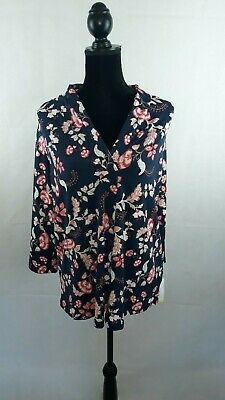 Womens Charter Club 3/4 Sleeve Top Plus Size Navy Blue Pink Floral Print WS-261