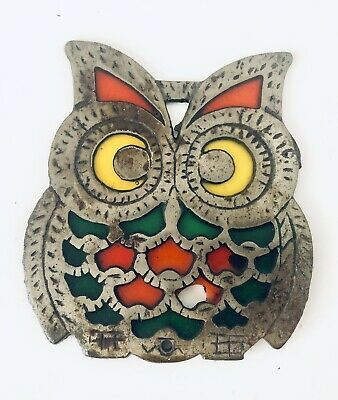 Vintage Cast Iron Owl Trivet Tiffany Like Stain Glass Orange Green Yellow Retro