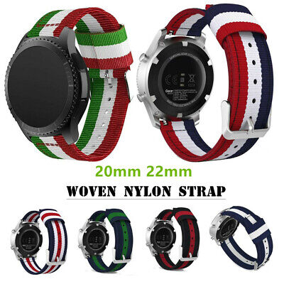 20/22mm Woven Nylon Watch Band Sport Strap For Samsung Galaxy 42/46mm Gear S3 S2