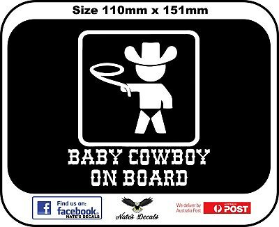 Baby Cowboy on board  Decal Sticker
