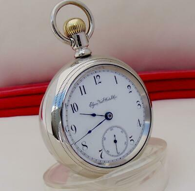Antique 1887 ELGIN 15 JEWELS Pocket Watch in HORSE ENGRAVED CASE  Size 18 - RUNS
