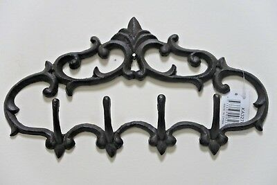 French Provincial Rustic Ornate Coat Towel Key Cast Iron Hook Rack wall Holder