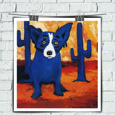 HD Prints Canvas Cartoon Animal Blue Dog Art Painting Home Wall Art Decor 12x12