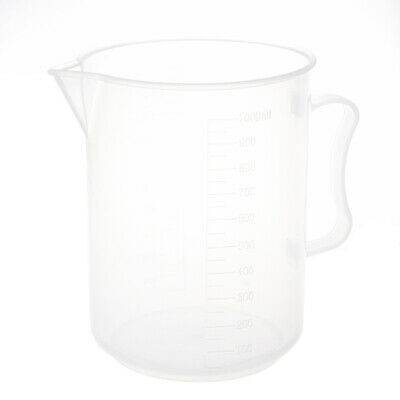 1000mL Capacity Clear Plastic Graduated Laboratory Measuring Set Beaker W1M7