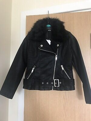 New Girls Black Faux Leather Jacket With Fur Various Sizes Available