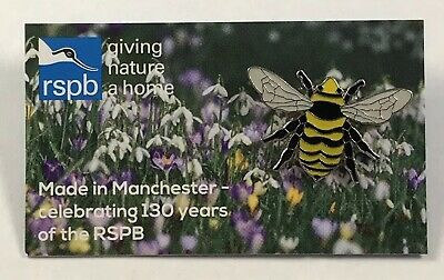 RSPB GNaH Pin Badge On Card - Made In Manchester Fletcher Moss Yellow Bumblebee