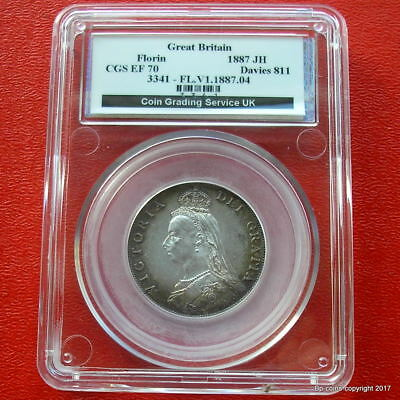 Cased Queen Victoria 1887 Sterling  Silver Florin Graded Extra Fine 70 By Cgs Uk