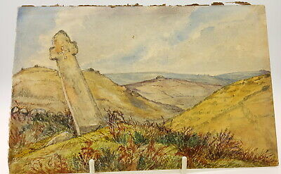 19th century Watercolour Landscape of England Somerset.