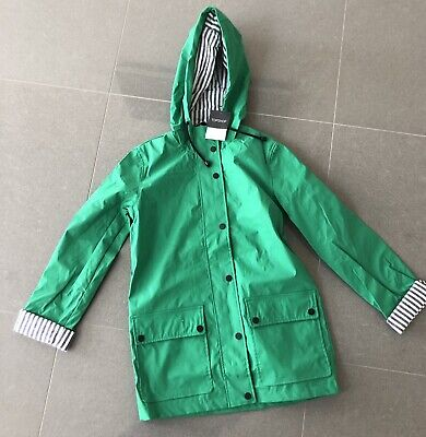 New Top Shop Girls Hood Raincoat UK6 Pvc Green Waterproof Lined Rain Mac RRP £49