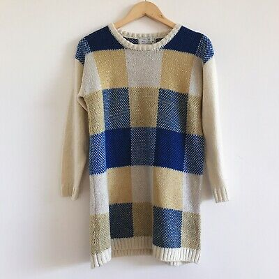 Vintage Blue And Yellow Check Plaid Knit Jumper Oversized Slouchy Long Knit
