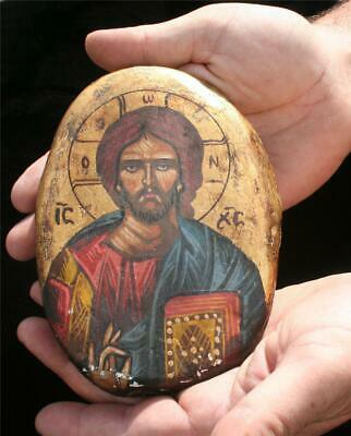 Antique Russian- Greek Orthodox Christian Hand Painted Icon on Stone Very Rare