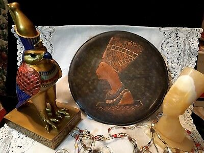 """Antique Vintage Egyptian Revival Etched Copper 8"""" Disc To Display ~ NEFERTITI ~"""