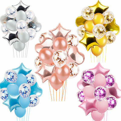 14Pcs Confetti Wedding Birthday Balloons Heart Latex Foil Kids Baby Party