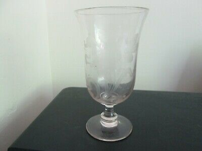 Superb Antique Art Nouveau Etched Glass Footed Celery Vase Floral Design