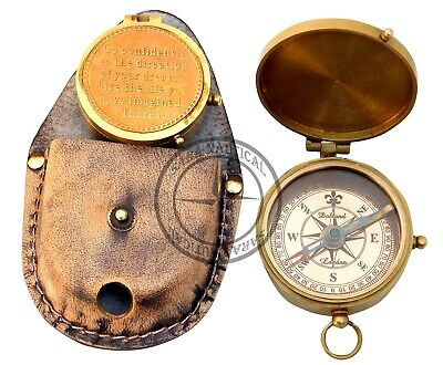 Solid Brass Pocket Compass~Vintage Victorian Dollond London Copper Dial Compass