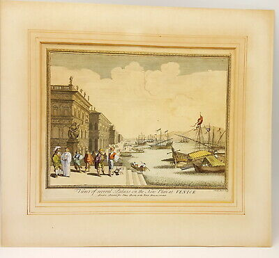 18th century Nathaniel Parr engraving Of Venice Buildings.Signed.