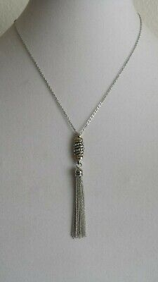 """Beautiful Women Silver Necklace with tassels,18"""" Long,Pendant with crystal stone"""