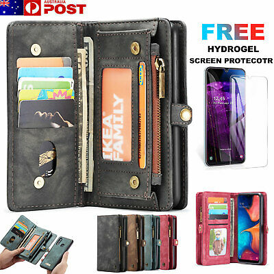 Samsung Galaxy A50 A20 A30 A70 Case, Removable Zipper Wallet Leather Flip Cover