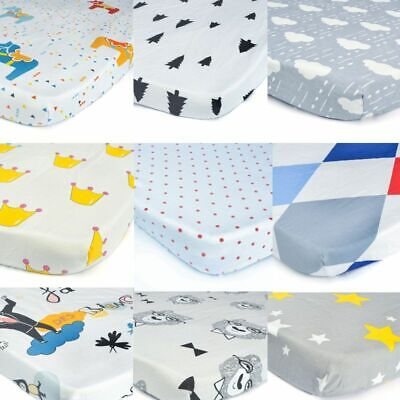 100% Cotton Crib Fitted Sheet Soft Baby Bed Mattress Cover Protector Cartoon Bed
