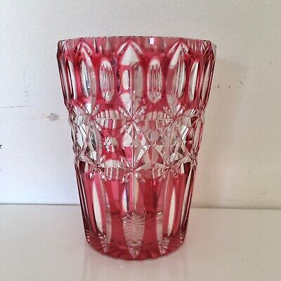 Art Deco cranberry crystal cut glass vase - Bohemian glass vase - antique vase -