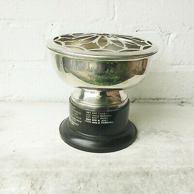 Vintage Silver Plated Rose Bowl Engraved 1961 Winners Trophy