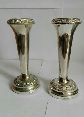 A Pair of Vintage Silver Plated Flower Bud Vases
