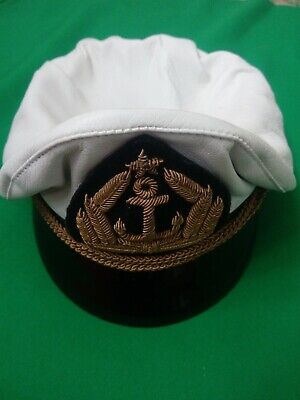 Adult Yacht Captain Hat White Boat Skipper Sailor Marine Navy  leather material