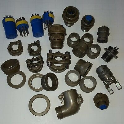 Assorted Amphenol Mil-Spec Circular Connector Parts, Plugs, Shells, etc...