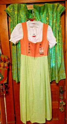 NWT Dress - Bavarian German Oktoberfest Dress - Orange Green White 2 pc