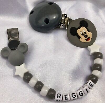 ❤ PERSONALISED Max 10 Letters ❤ MICKEY DUMMY CLIP ❤ DARK GREY/WHITE ❤ 3 COLORS