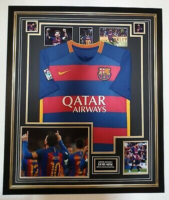 LIONEL MESSI of Barcelona Signed Photo with Shirt Jersey Autographed Display