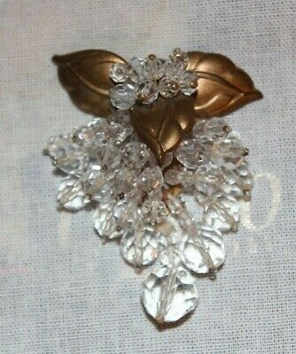 Antique Vintage Art Deco Faceted Clear Glass Dangly Lg Dress Fur Clip *STUNNING*