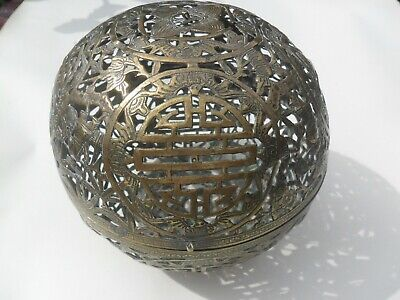 18th /19th Century Antique Chinese Brass Hand Warmer / Incense Burner