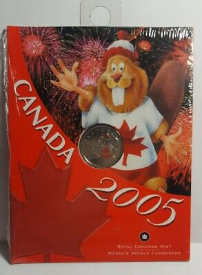 2005P Canada 25 Cents Coloured Canadian Beaver