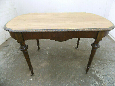 antique,edwardian,small,D end,oak,dining,table,castors,carved edges,turned legs