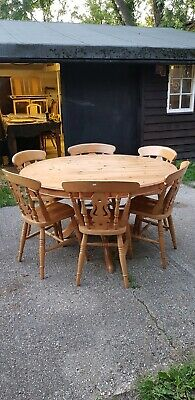 Large Circular Solid Pine Dining Table & 6 Beech Chairs