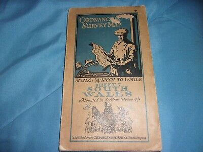 ***Rare*** Original 1920 South Wales Ordnance Survey Map 1/4 Inch To 1 Mile!!