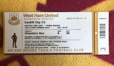 Match Day VIP Ticket West Ham United vs Cardiff City Capital One 3rd Round 2013