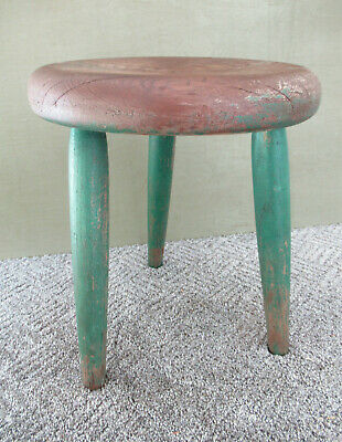 "Antique Stool Primitive Vintage Pine Wood 14-1/2"" Tall, Green Paint, 3-Leg Stand"
