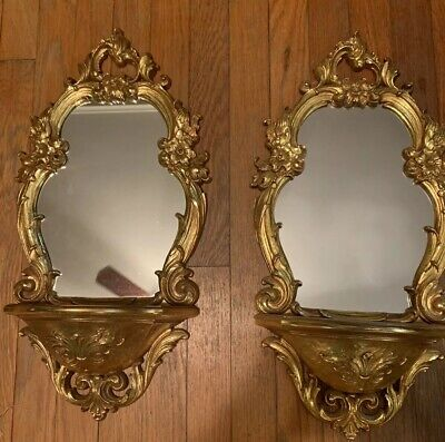 "Vintage Dart SYROCO Gold Wall MIRROR With SHELF Hollywood Regency 20.5"" lot of 2"