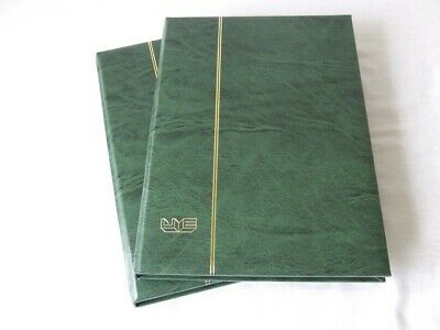 PAIR OF A4 8 BLACK PAGES (16 sides) 3 CLEAR STRIP GREEN STAMP STOCKBOOKS, EXCELL
