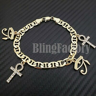 "Luxury Hip Hop Gold PT 8.5"" Marina Chain Egyptian Ankh & Eye of Horus Bracelet"