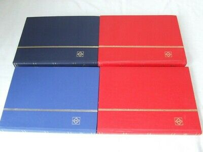 4x LIGHTHOUSE SMALL STAMP STOCKBOOKS, 8 OR 16 WHITE PAGES, VGC