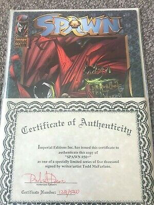 Spawn #50 Autographed By Todd Mcfarlane With Certificate Of Authenticity