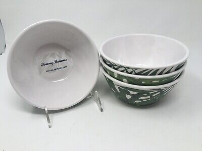 Tommy Bahama Tropical Palm Leaves Leaf Melamine Salad Soup Cereal Bowls Set of 4