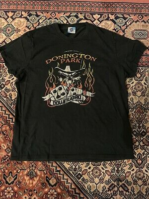 DOWNLOAD FESTIVAL 2010 Official Mens XL Balck Tee Donington Park Flames  Skulls