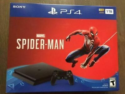 Sony PlayStation 4 Slim Marvel Spiderman Bundle PS4 Console 1TB New ship fast