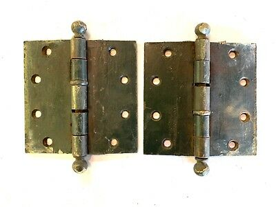 "1890's Antique Cannonball DOOR HINGES 5"" Ball Top Style Set of 2 DH129"