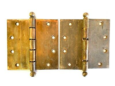 "1890's Antique Cannonball DOOR HINGES 5 7/8"" Ball Top Style Set of 2 DH130"